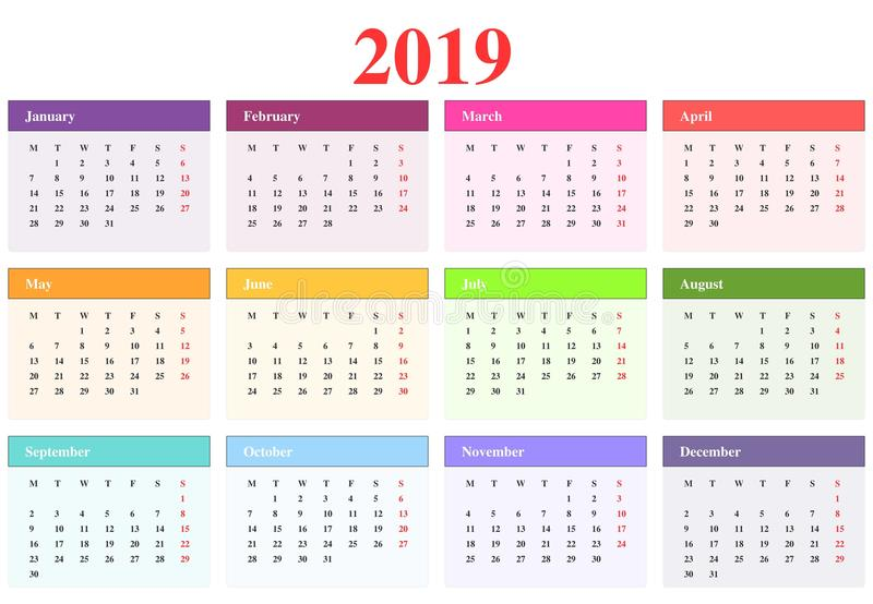 Calendrier 2019 illustration stock