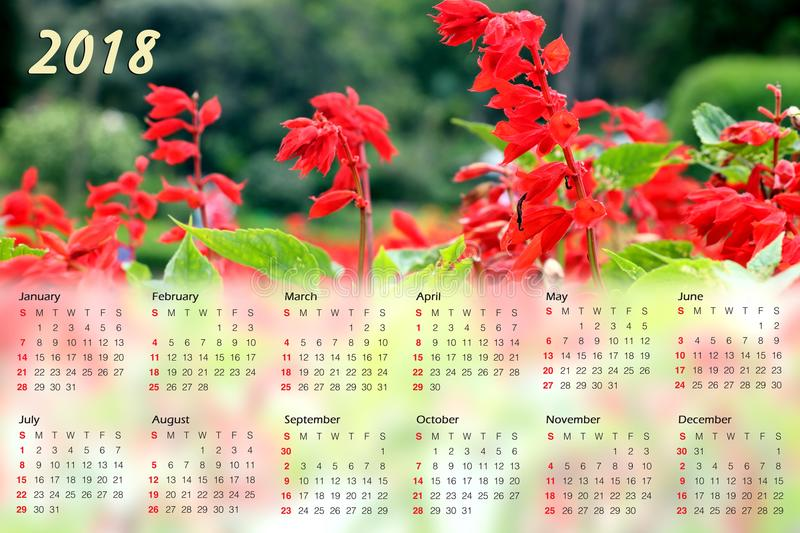Calendrier 2018 image stock