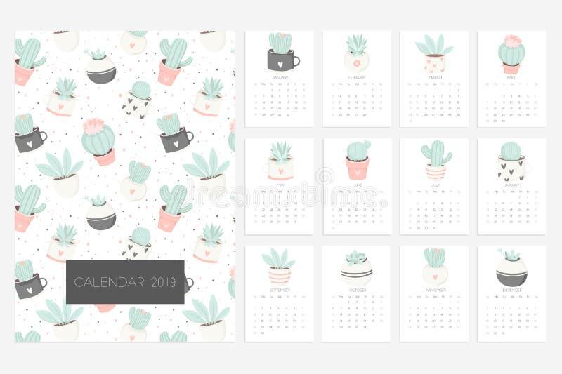 Calendrier 2019 Amusement et calendrier mignon avec les succulents et les usines tirés par la main de cactus illustration libre de droits
