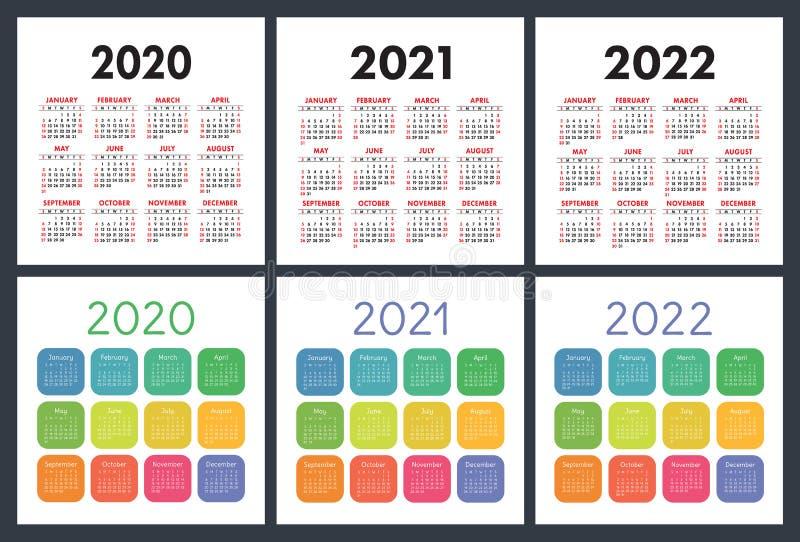 Calendrier Anglais 2020, 2021, 2022 Calendrier De Poche Ensemble