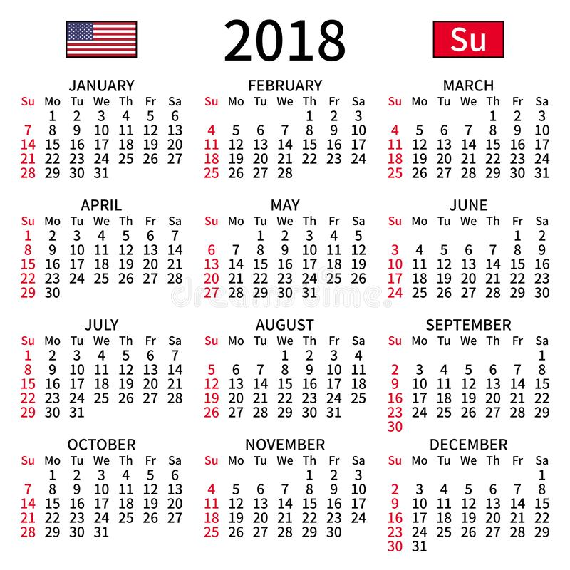 Calendrier anglais 2018, dimanche illustration stock