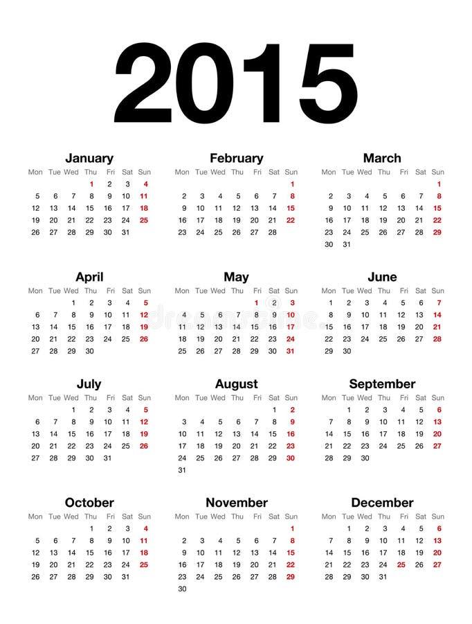 Calendrier anglais pour 2015 illustration libre de droits