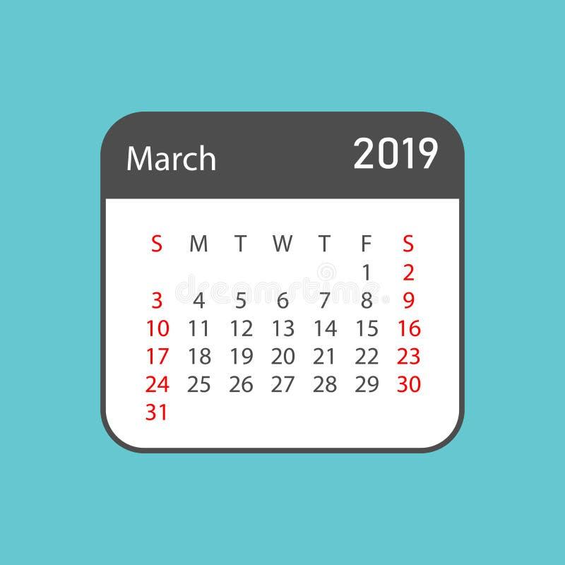 Calendrier année en mars 2019 dans le style simple Desig de planificateur de calendrier illustration de vecteur