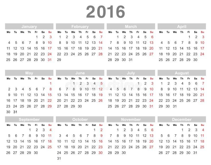 calendrier annuel de 2016 ans lundi d 39 abord anglais illustration de vecteur illustration du. Black Bedroom Furniture Sets. Home Design Ideas