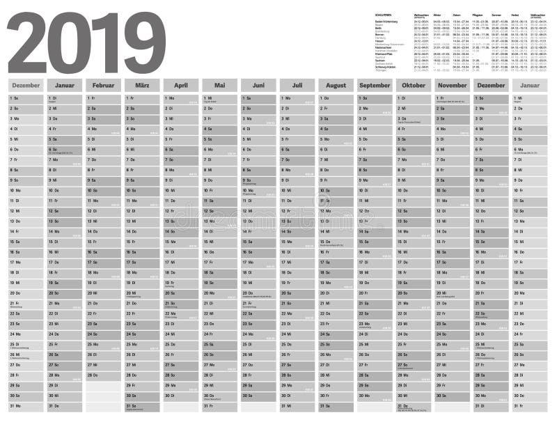 Calendrier annuel 2019 de planificateur pour l'Allemagne illustration de vecteur