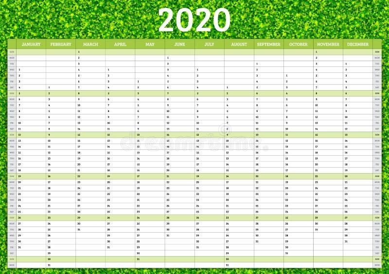 Calendrier annuel 2020 Modèle de planificateur annuel Illustration vectorielle illustration de vecteur