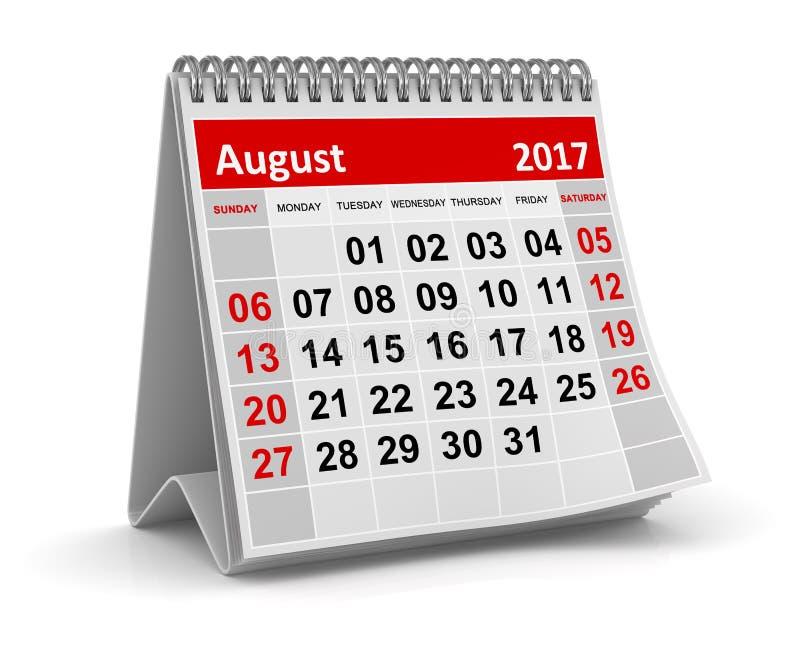 Calendrier - août 2017 illustration libre de droits