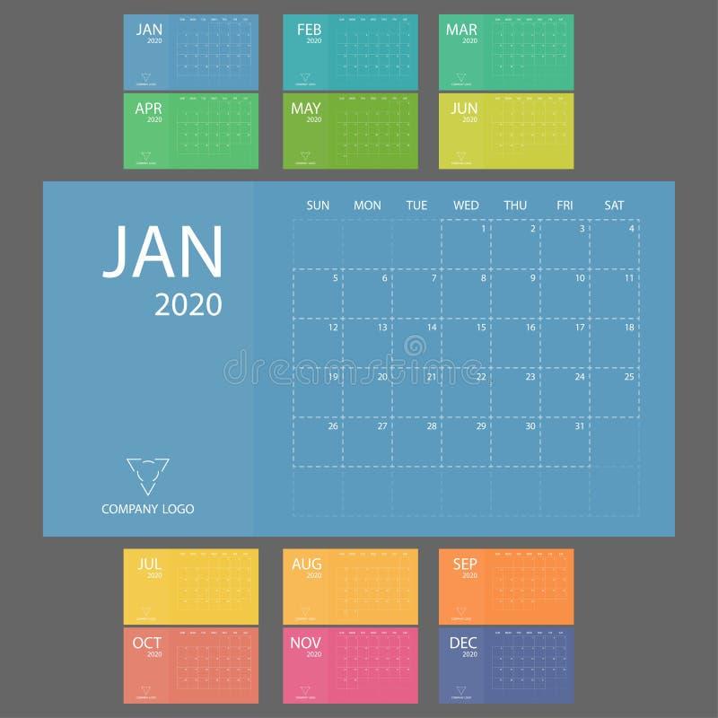 Calendrier 2020 avec des débuts de semaine dimanche Bureau minimal de date de calibre de vecteur de planificateur Organisateur m illustration libre de droits