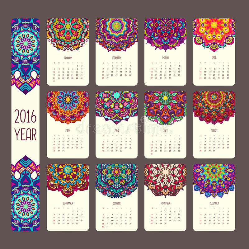 Calendrier 2016 avec des mandalas illustration libre de droits