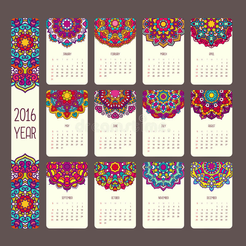 Calendrier 2016 avec des mandalas illustration stock
