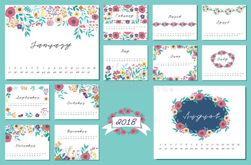 Calendrier 2018 avec l'élément de conception de fleur photos libres de droits