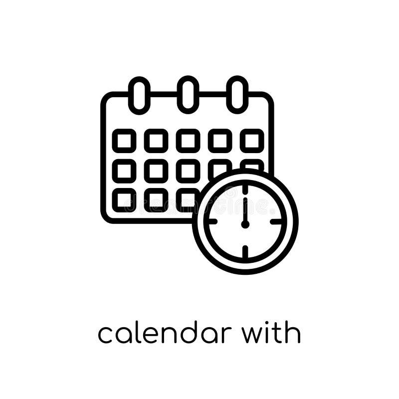 Calendrier avec l'icône de dates-butoirs de la collection de productivité illustration libre de droits