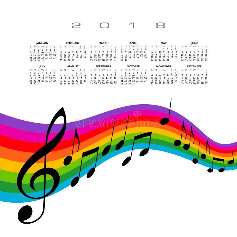 Calendrier 2018 avec la musique d'arc-en-ciel illustration stock