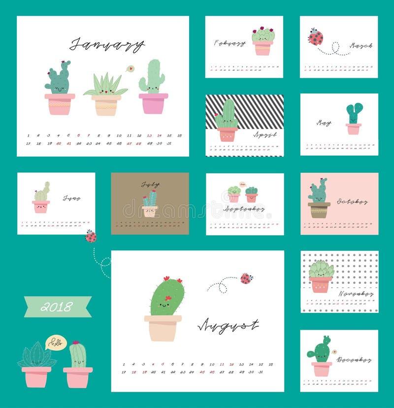 calendrier 2018 avec le cactus image libre de droits