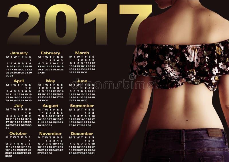 Calendrier 2017 avec le woman& x27 ; profil de s photo stock