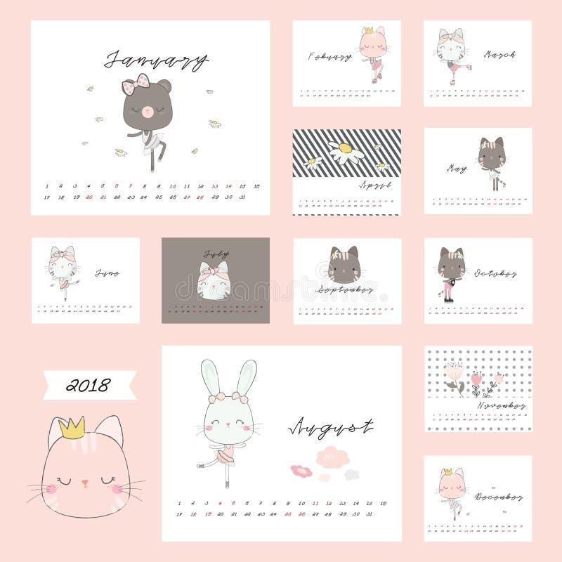 calendrier 2018 avec les animaux mignons photographie stock
