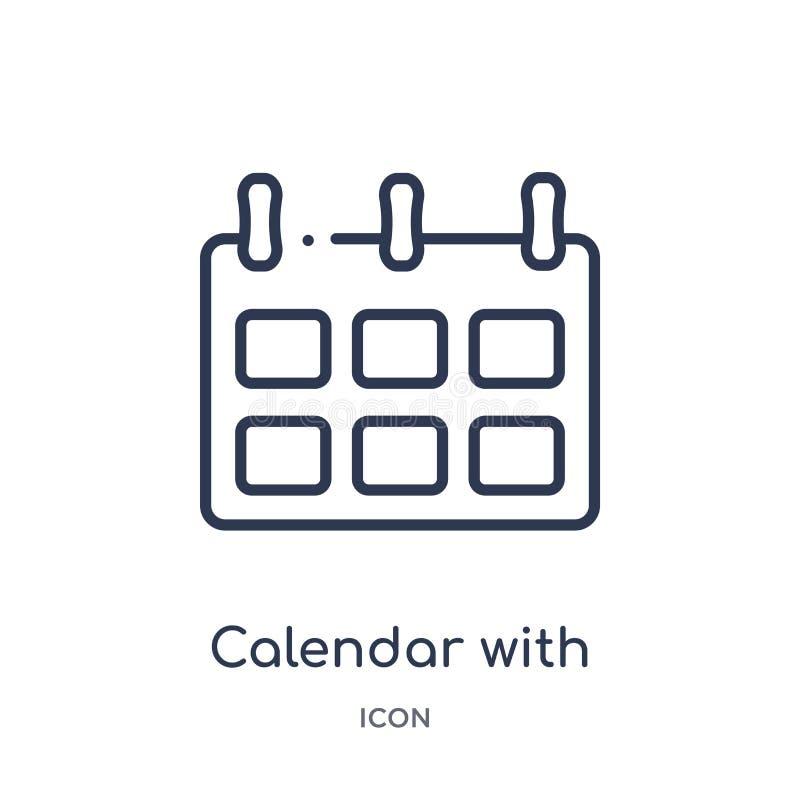 calendrier avec six icônes de jours de collection d'ensemble d'outils et d'ustensiles Ligne mince calendrier avec six icônes de j illustration stock