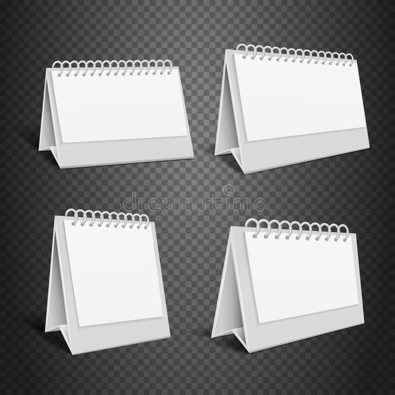 Calendrier blanc de papier de bureau Videz l'enveloppe pliée avec l'illustration de vecteur de ressort illustration de vecteur