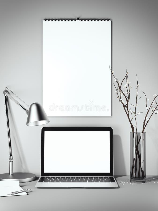 Calendrier blanc vide sur le mur rendu 3d illustration stock