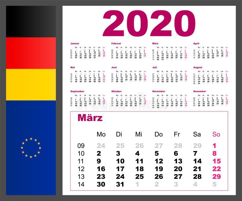 Calendrier 2020 Semaine Numerotees.2020 Annees Civiles Illustration De Vecteur Police De Cru