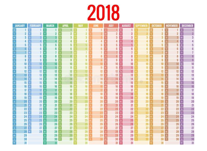 calendrier 2018 Calibre d'impression La semaine commence dimanche Orientation de portrait Ensemble de 12 mois Planificateur penda illustration stock