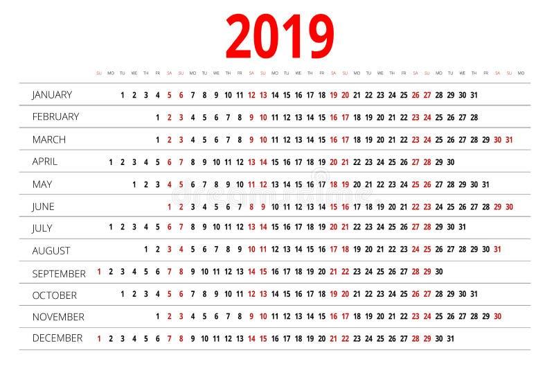 calendrier 2019 Calibre d'impression La semaine commence dimanche Orientation de portrait Ensemble de 12 mois Planificateur penda illustration de vecteur