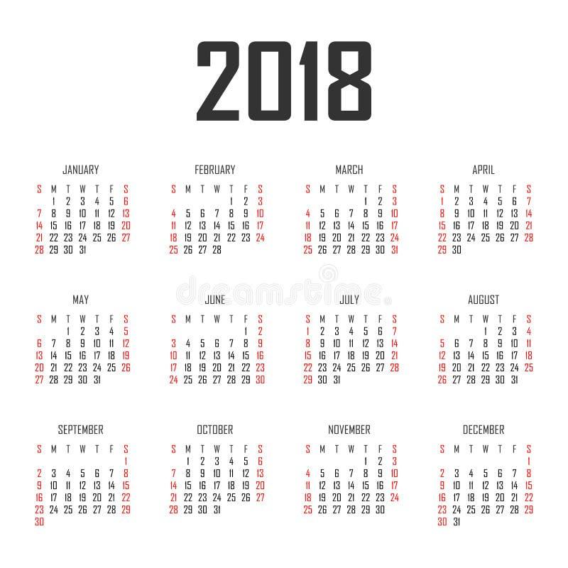 Calendrier calibre de conception de vecteur de 2018 ans illustration libre de droits