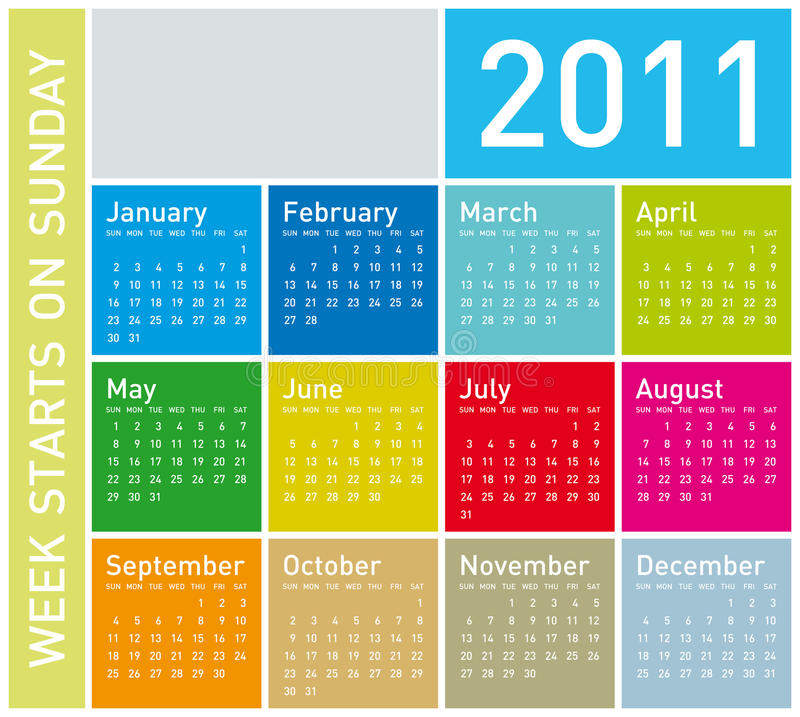 Calendrier coloré 2011 illustration de vecteur