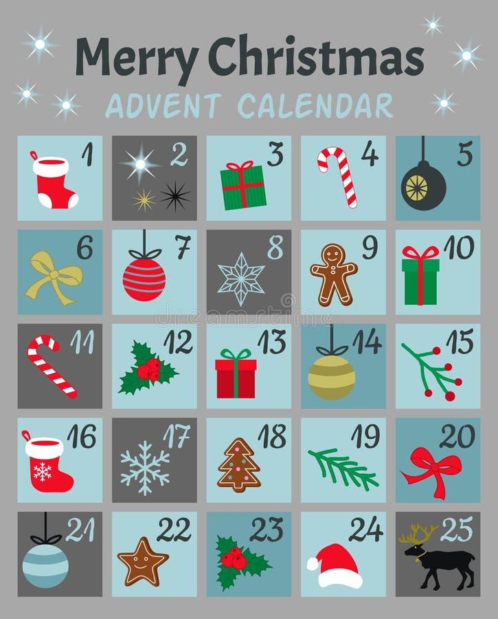 Calendrier coloré de Mery Chistmas Advent Noël, hiver et symboles et icônes mignons de la nouvelle année 25 avec des nombres Main illustration de vecteur