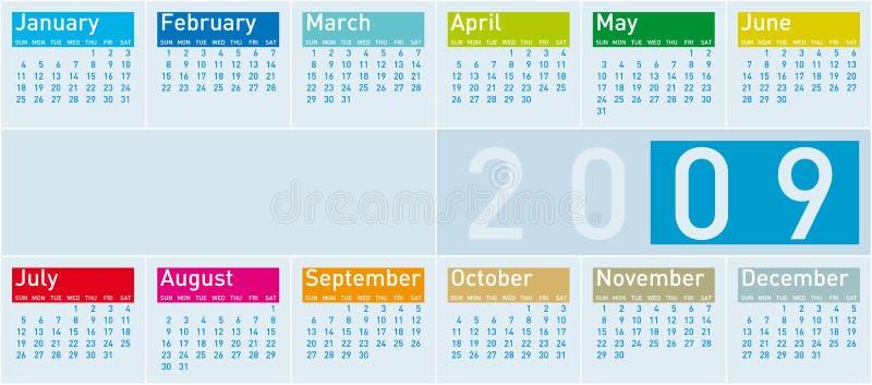 Calendrier coloré pour 2009 illustration libre de droits