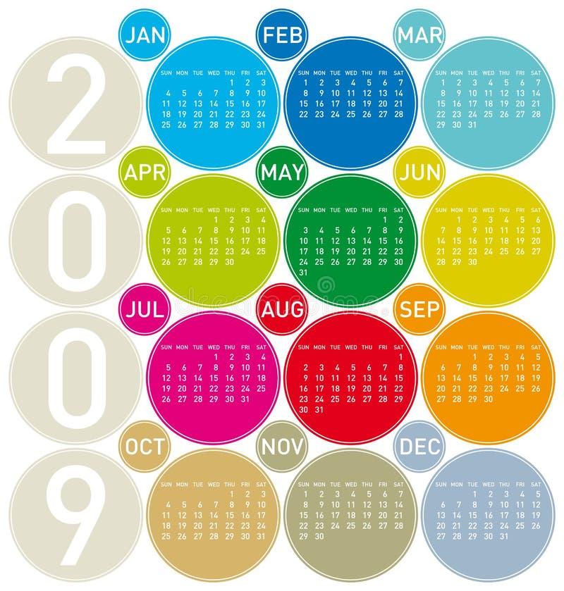 Calendrier coloré pour 2009 illustration stock