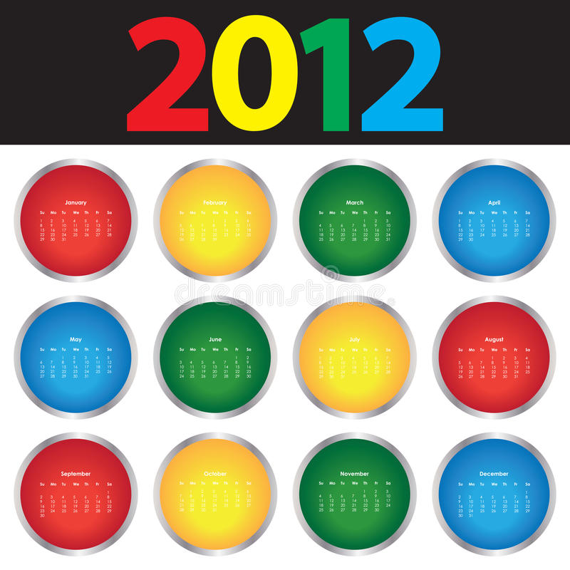 Calendrier coloré pour 2012 image libre de droits