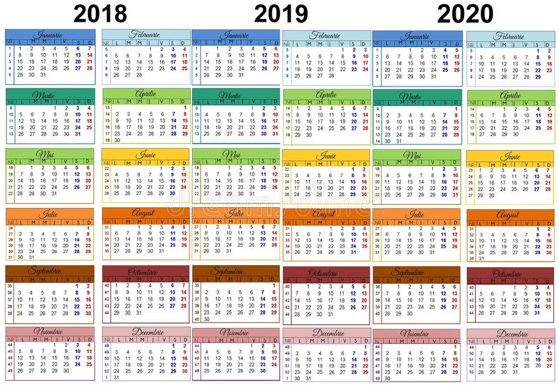 Calendrier coloré 2018 Roumain 2019 2020 illustration stock