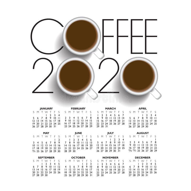 calendrier créatif du café 2020 illustration libre de droits
