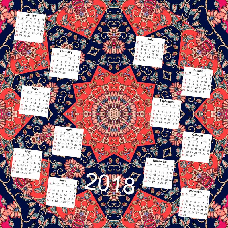 Calendrier créatif pendant de nouvelle 2018 années Fond floral ornemental illustration de vecteur