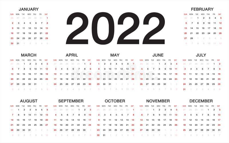 Calendrier 2022 Dessin Calendrier 2022, Débuts De Semaine Du Dimanche, Calibre D'affaires