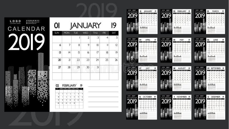 Calendrier 2019 d'affaires Conception monochrome avec la vue de paysage urbain illustration stock