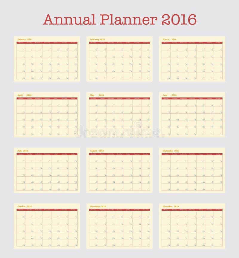 Calendrier d'affiche pour 2016 Planificateur annuel pendant l'année 2016 illustration de vecteur