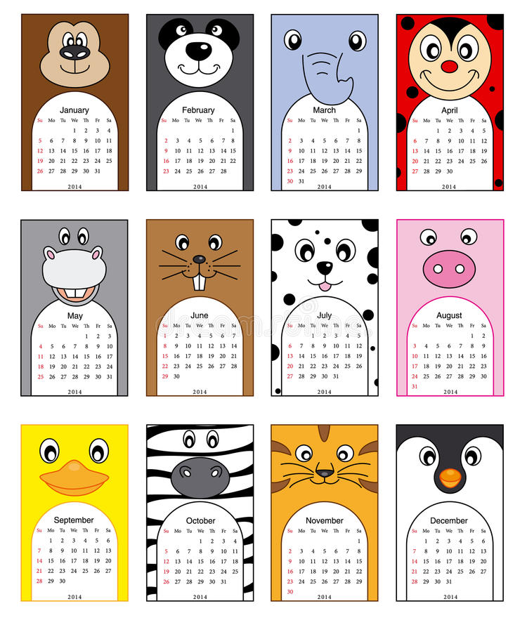 Calendrier d'animaux illustration stock