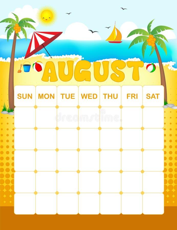 Calendrier d'août illustration libre de droits