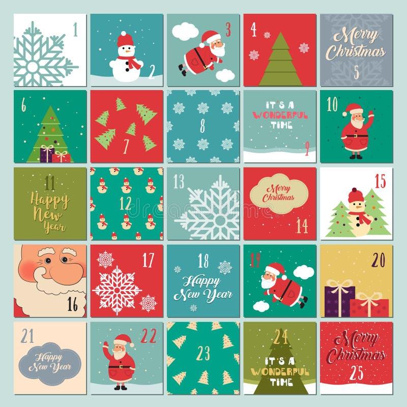 Calendrier d'arrivée Affiche de Noël Santa Claus, flocons de neige, bonhomme de neige, arbre de Noël, symboles de Noël, police de illustration libre de droits