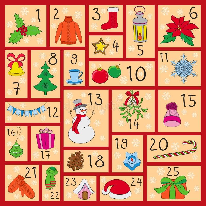 Calendrier d'arrivée Noël, hiver et symboles mignons de nouvelle année Style de dessin de main Affiche de vecteur de griffonnages illustration libre de droits