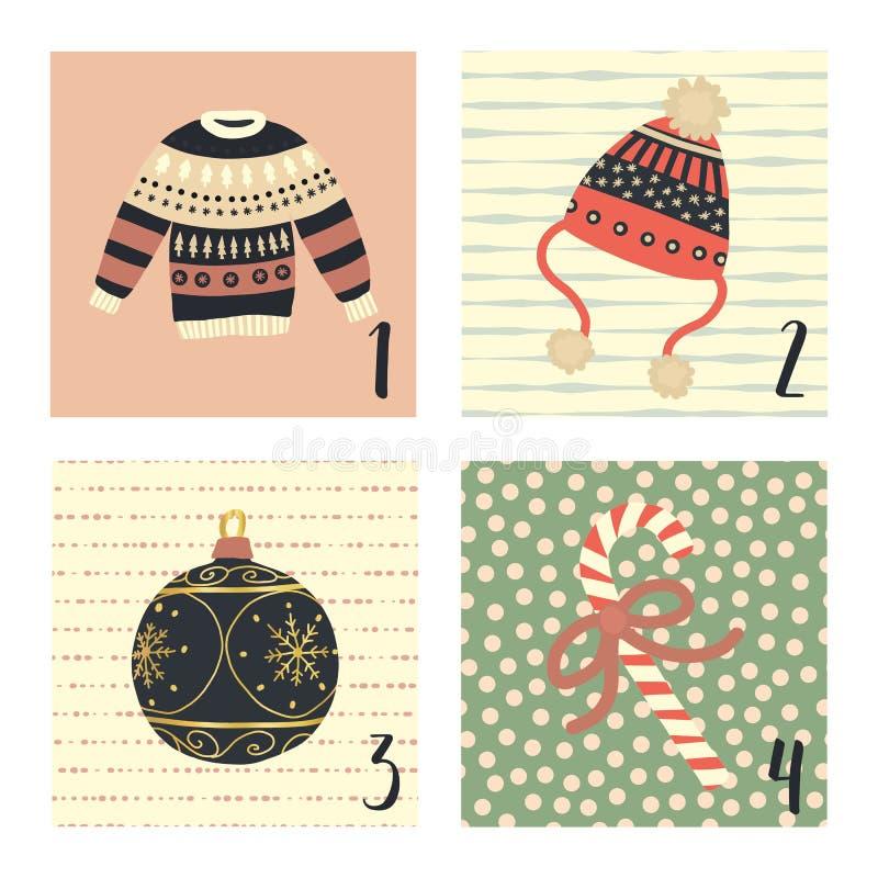 Calendrier d'avènement avec les illustrations tirées par la main mignonnes de vacances de Noël de vecteur pour le 1er décembre -  illustration libre de droits