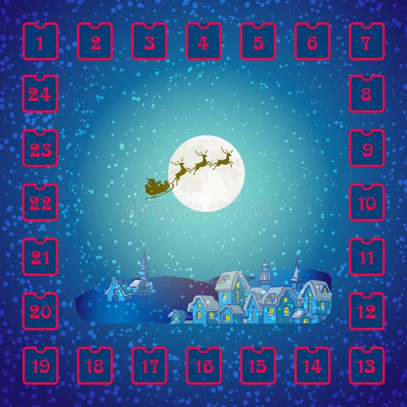 Calendrier d'avènement de Noël avec Santa Claus et des cerfs communs illustration stock
