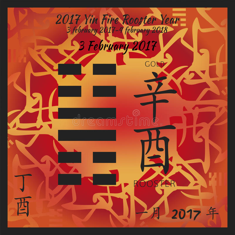 Calendrier 2017 d'i ching illustration stock