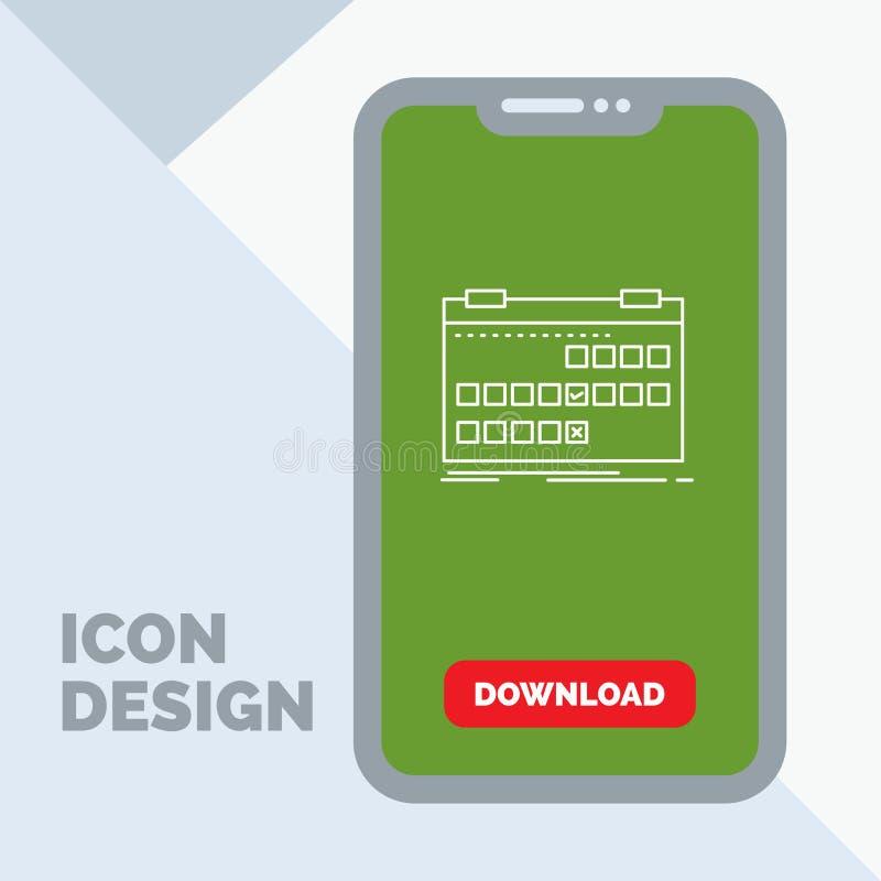 Calendrier, date, événement, libération, ligne icône de programme dans le mobile pour la page de téléchargement illustration libre de droits