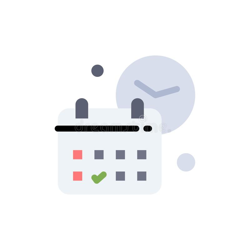 Calendrier, date, jour, temps, icône plate de couleur du travail Calibre de bannière d'icône de vecteur illustration stock