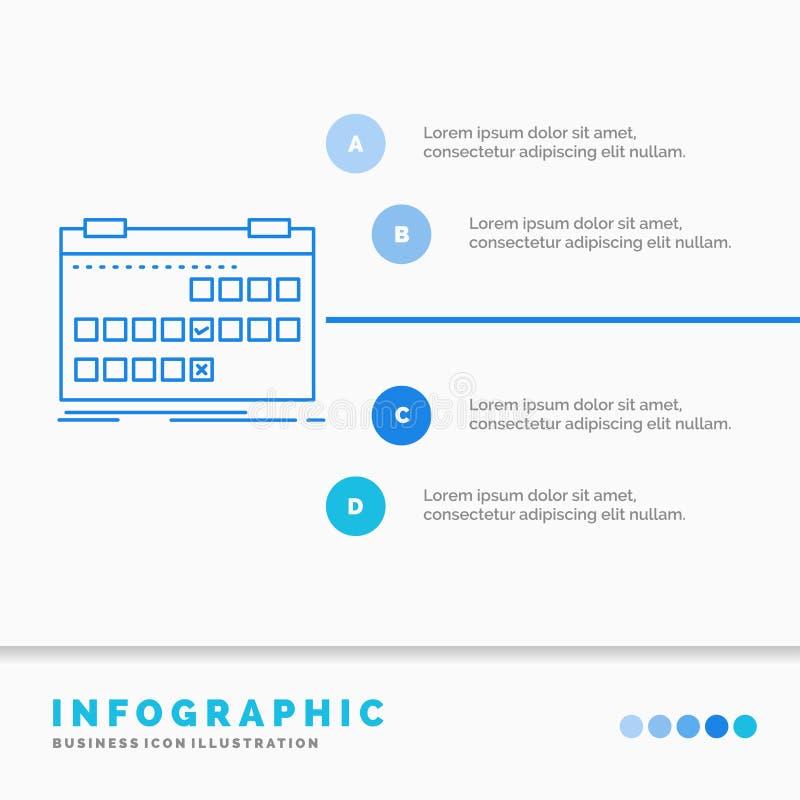 Calendrier, date, ?v?nement, lib?ration, calibre d'Infographics de programme pour le site Web et pr?sentation Ligne style infogra illustration stock