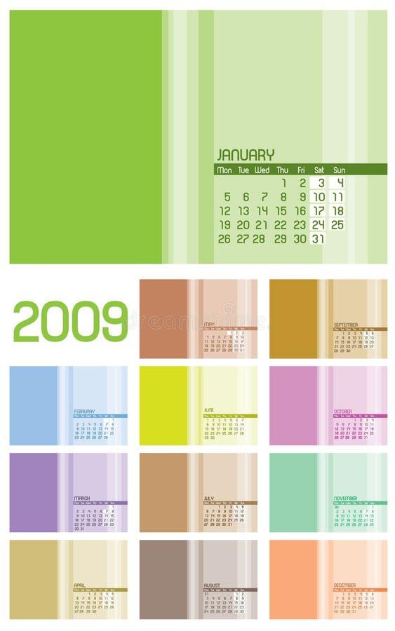 calendrier de 12 pages 2009 - 12 mois illustration de vecteur