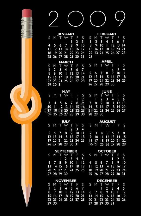 Calendrier de 2009 crayons illustration libre de droits